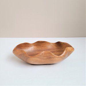 Wave shape wooden bowl trinket dish.